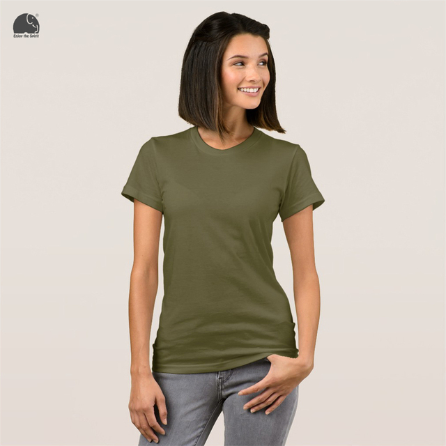 EnjoytheSpirit Female Plain T-shirt 16 Colors Fashion Short Sleeve Summer  Tee Tops Round Neck Army Green T Shirt Slim Fit Lady e38eae5536