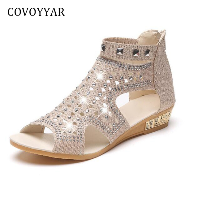 COVOYYAR Rhinestone Women Gladiator Sandals Peep Toe Rivets Women Shoes  2018 Summer Cut Out Low Wedge Casual Shoes WSS293 7ea74fd97c39