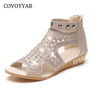 COVOYYAR Rhinestone Women Gladiator Sandals Peep Toe Rivets Women Shoes 2018 Summer Cut Out Low Wedge