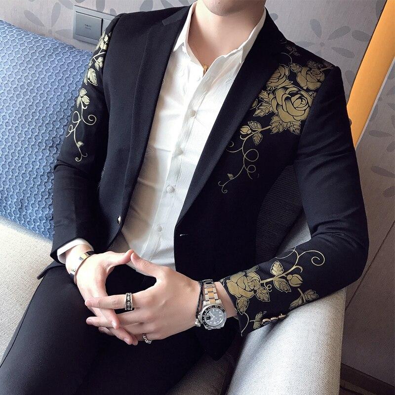 Blazer Black Noir Pour Costumes Fit Imprimer Blazers Mariage De Or Fleur Chanteurs Hommes Parti Scène Les Élégant Festival Slim cTK1FJl3