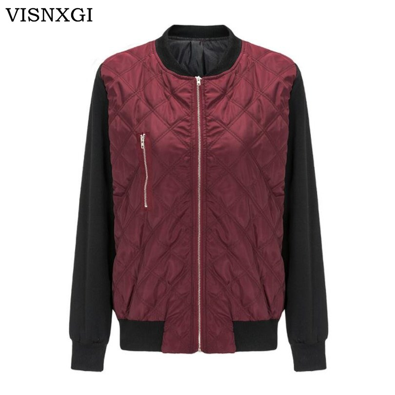 VISNXGI Autumn Winter Women   Basic     Jacket   Coat Female Cotton Coats Casual   Jackets   Ladies Long Sleeve Zipper Keep Warm Outerwear