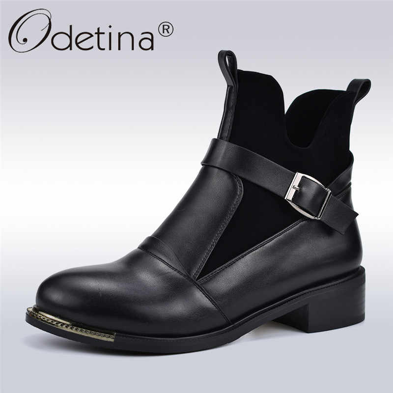 3f425e534b74 Odetina Autumn Winter Fashion Boots Women Buckle Strap Slip On Ankle Boots  Square Low Heels Female
