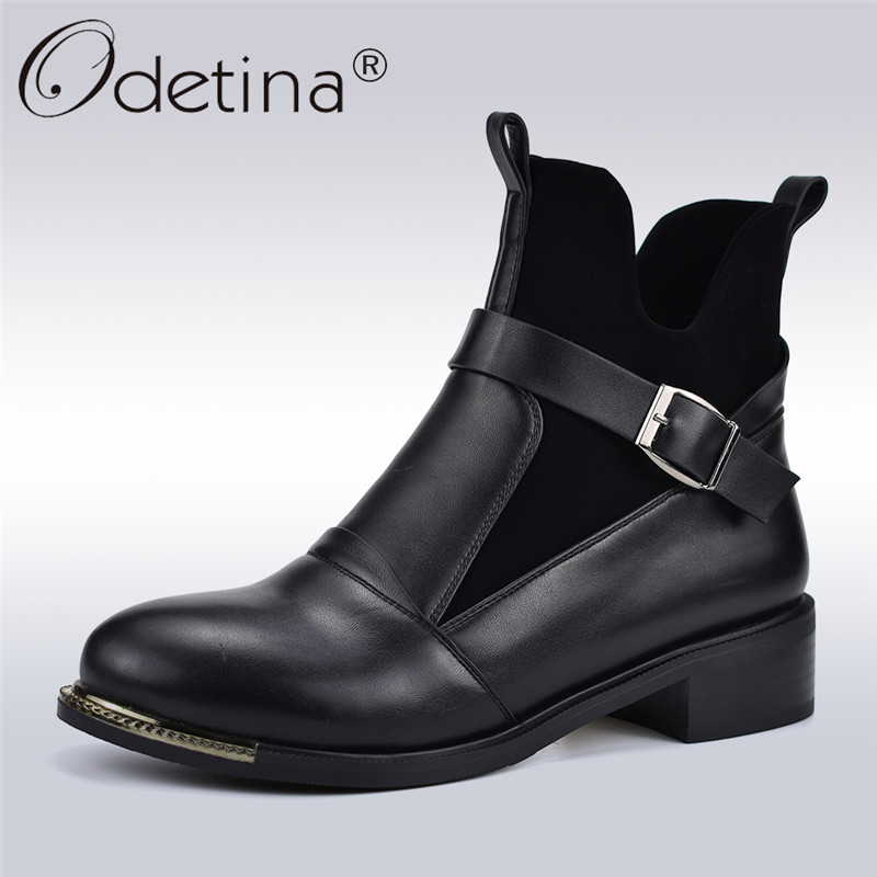Odetina Autumn Winter Fashion Boots Women Buckle Strap Slip On Ankle Boots Square Low Heels Female Thick Plush Shoes Big Size 41 цена