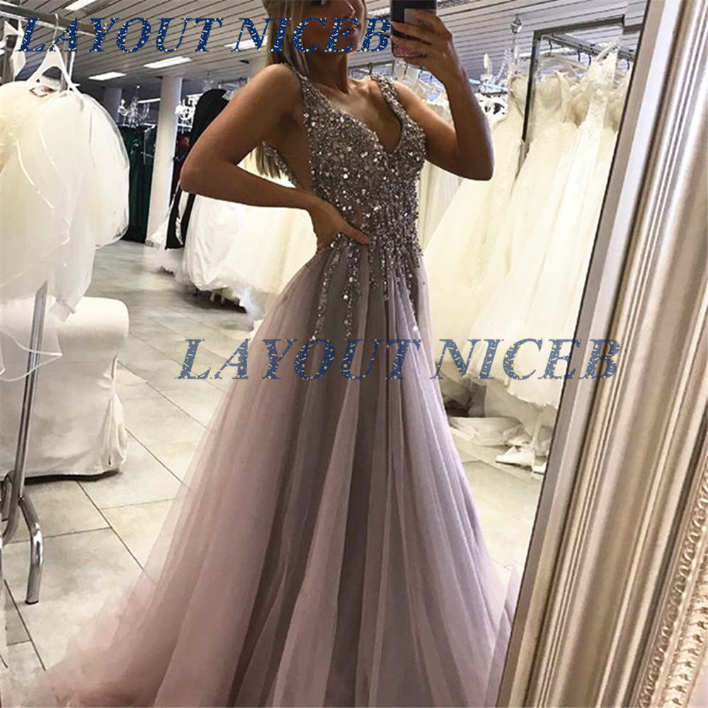 Hot Selling Sliver Crystals Tulle   Evening     Dress   2019 Backless Charming Summer Prom   Dresses   Gowns Custom Made Party   Dresses