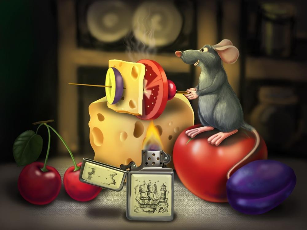 Online 1 Piece Modern Lucu Tikus Kecil Makan Keju Dinding