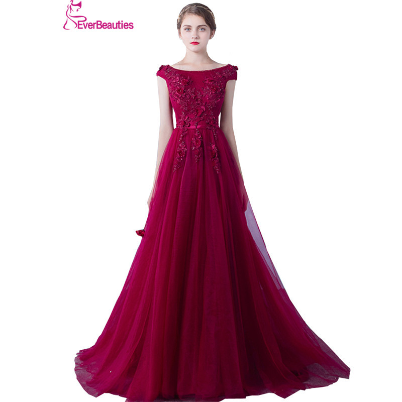 Wine Red Evening Dresses Long Women Lace Appliques Robe De Soiree Elegant Party Formal Prom Dress 2019 Abendkleider