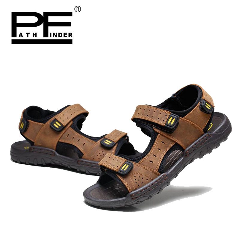 Pathfinder Hot Men Genuine Leather sandals Shoes Summer mens soft Breathable Slippers Outdoor Beach Super Fiber Casual Shoes