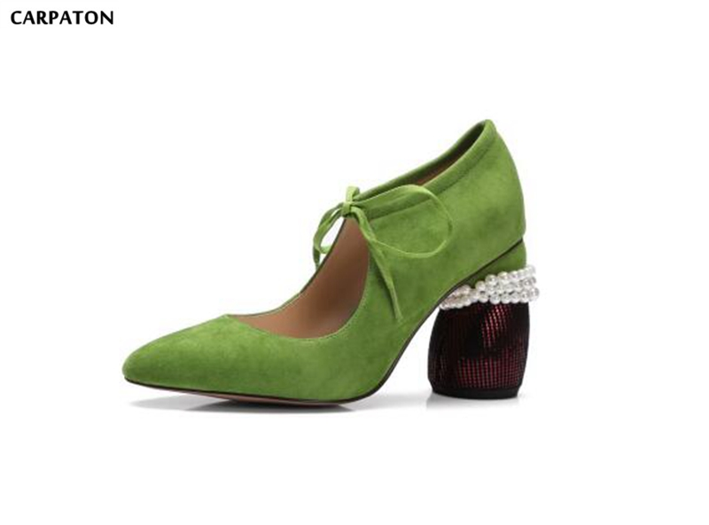 Carpaton 2018 New Pure Color Flat Shoes Fashion Pointed Toe Ankle Straps Pearl Square Heels Slip-On Women Casual Wild Flat Shoes cresfimix women cute spring summer slip on flat shoes with pearl female casual street flats lady fashion pointed toe shoes