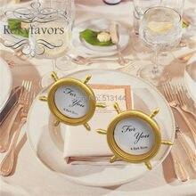 FREIES VERSCHIFFEN 50 STÜCKE Gold Harz Schiff Rad Bilderrahmen Ort Kartenhalter Hochzeits-dekoration-bevorzugungen Nautischen Thema Party Geschenke