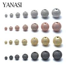 6 мм/8 мм/10 мм круглые разделительные бусины для самодельных ювелирных изделий медные кубические циркониевые шарики для изготовления ювелирных изделий