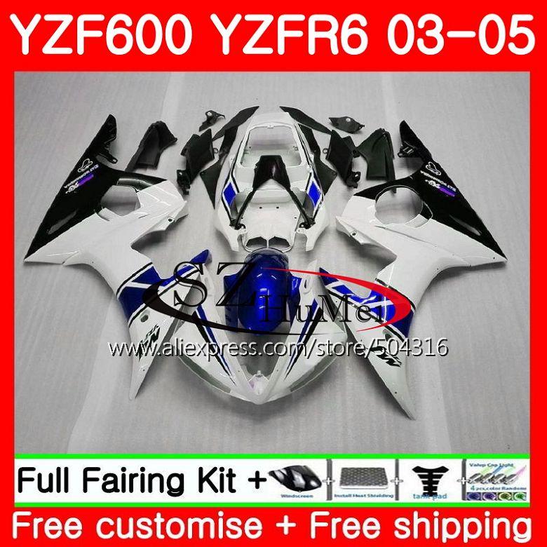 Corpo Para YAMAHA YZF R6 YZF600 preto branco R 6 03 YZF 600 Carroçaria 67SH13 YZF-R606-07 YZF-R600 YZFR6 03 04 05 2003 2004 2005 carenagens
