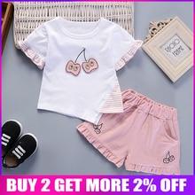 BibiCola baby girls clothing set summer girls tracksuit set toddle cotton set t-shirt +shorts 2pcs set infant kids clothes
