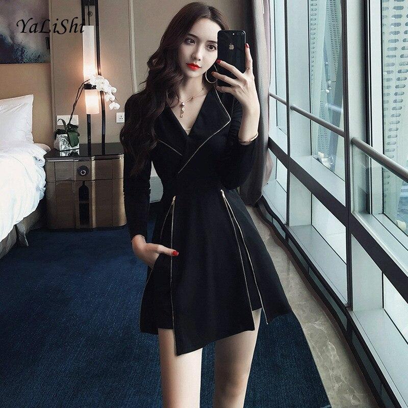 2 Piece Set Autumn 2019 Women Black Long Sleeve Turn-down Collar Harajuku Casual Goth Long Top And Shorts Pants 2018 Vestidos