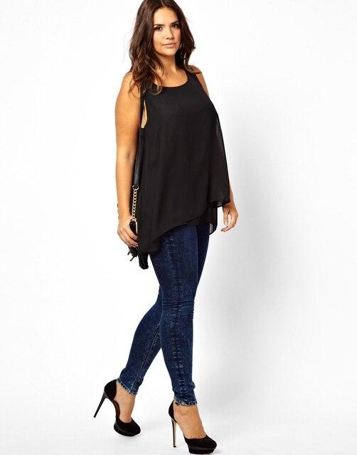 4XL 3XL Плюс Размер Женщин Шифон Рубашки Блузки Женские Летние рукавов майка Блузка 5XL Черный Леди Топы Повседневная Одежда топ