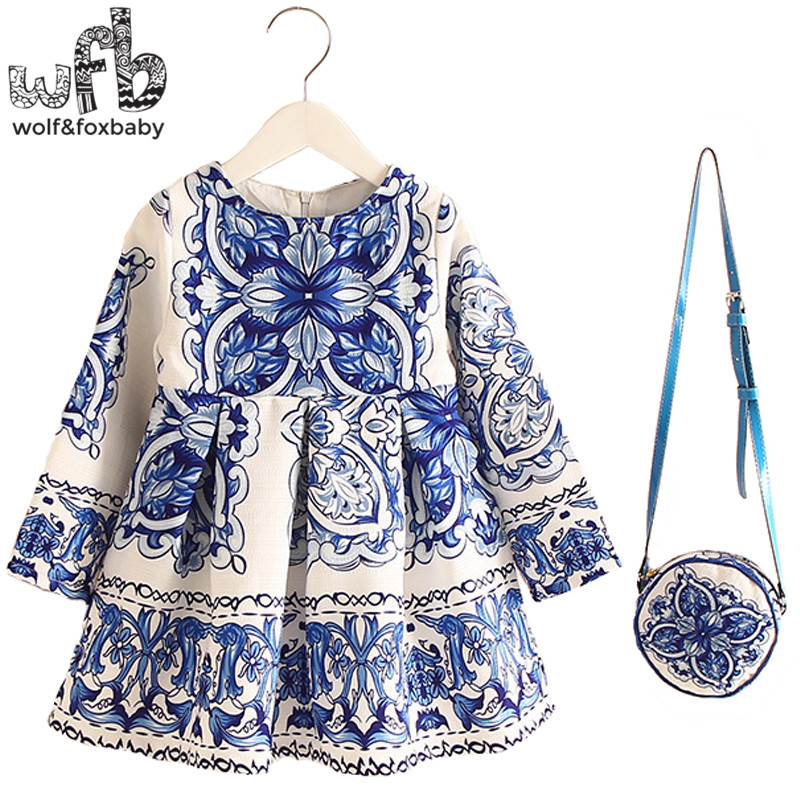 Retail 2-8years Dress+Bag/set New Cute Kids Baby Girl Summer Spring Fall Long-Sleeve Perfume Princess Flower China blue 2016 baby s cute floral pattern two way pur cotton spring fall cloak w hood deep blue