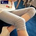 2016 Verão Super-elástico cores Doces Sólidos Das Mulheres Leggings de Comprimento Das Senhoras Algodão de seda Gelo tamanho Grande 4XL Capri calças pés