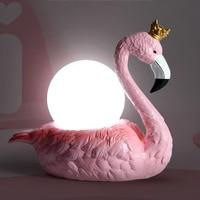 Modern creative cartoon romantic pink flamingo simple table lamp for bedroom bedside lamps LED light wedding room kid lamp E14