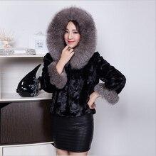 Women's Real Mink Fur Coat With Fox Fur Collar Hooded Outerwear Winter Warm Plus Size Fur Coats DA-66