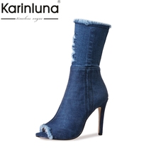 KARINLUNA 2017 Large Size 33-43 Thin High Heels Peep Toe Denim Upper Women Shoes Woman Sexy Party Boots Summer Boots