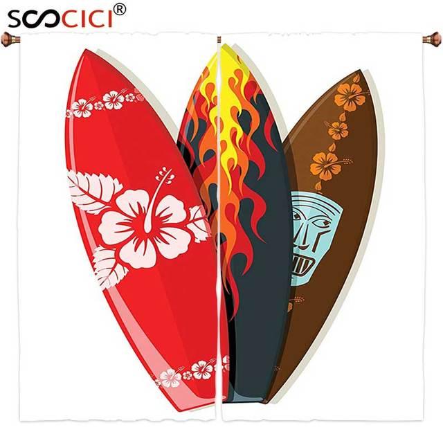 Ventana Cortinas tratamientos 2 paneles surf decoración colección ...
