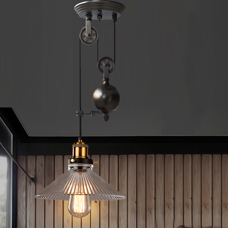 led industrial pendant light black retro vintage pendant lamp  edison bulb pulley pendant light modern led pendant lights kithen