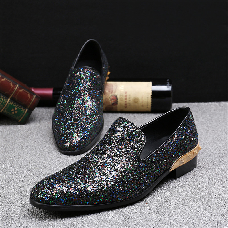 Choudory Rivets Glitter Round Toe Loafers Men Shoes Fashion Casual Flats  Zapatillas Hombre 2017 Sparkling Wedding Shoes Size 46-in Men s Casual Shoes  from ... 56d690aae00d