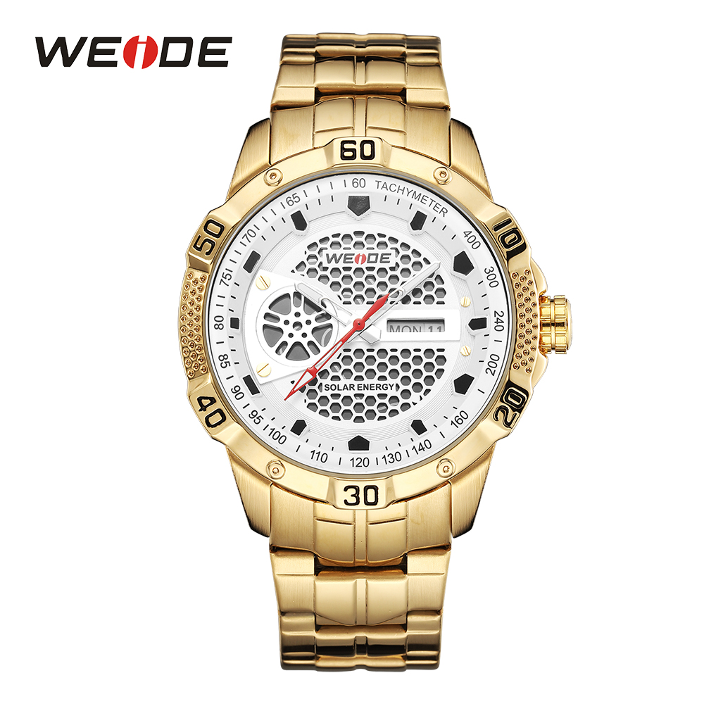 WEIDE Men Sport Watch Solar Energy Digital Date Calendar Gold Stainless Steel Band White Wristwatch Male Relogios masculinos 1 8 3 16 wire rope guardrail accessories 316 stainless steel protector sleeve cable grommet