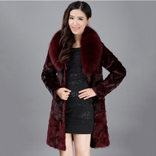 Black Wine Color long mink fur coat with fox fur collar high top quality thick warm coat female winter overcoat fashion natural