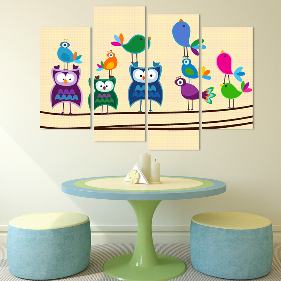 Free Shipping 4pieces Canvas art Abstract birds painting multi color ...