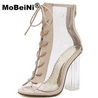 Women Pumps Gladiator Sandals PVC Clear Block High Heel Transparent Boots High Top Pumps Perspex Lucite