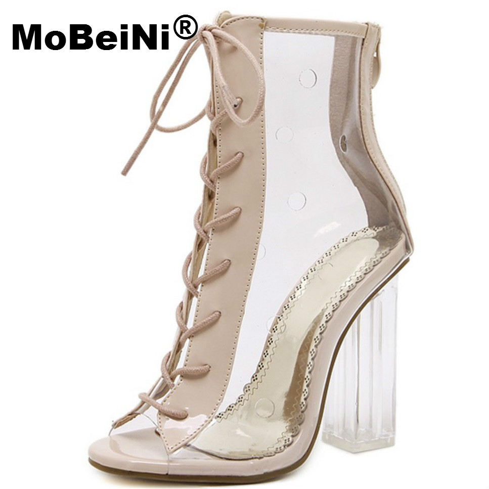 MoBeiNi Women Pumps Gladiator Sandals PVC Clear Block High Heel Transparent Boots High Top Pumps Perspex Lucite Summer Shoes mobeini women pumps gladiator sandals pvc clear block high heel transparent boots high top pumps perspex lucite summer shoes