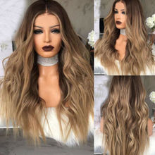 Women Long Curly Blonde Ombre Wigs Synthetic Hair Natural Full Wavy Wig UK