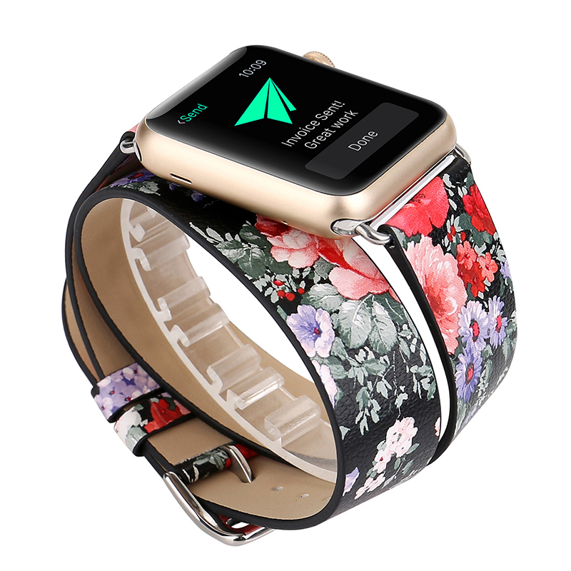 For Apple Watch Wrist Band Double Tour Real Leather Watch Strap For Apple Series 1 2 3 iWatch 38mm 42mm Women's Watch Bracelet цена