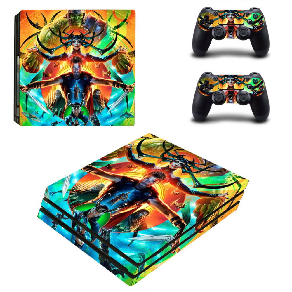 Thor: Ragnarok Vinyl Ps4 PRO Console Skin Decal Sticker + 2 Controller Skins Set For Sony Playstation 4 Pro Console&Controllers