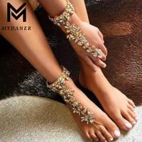 MYDANER Fashion Luxury Crystal Ankle Bracelet Wedding Barefoot Sandals Beach Foot Jewelry Sexy Pie Leg Chain