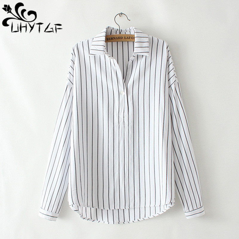 UHYTGF <font><b>4XL</b></font> Oversized womens tops and blouses casual spring shirt Female fashion stripe Plus size blouse women <font><b>camisas</b></font> <font><b>mujer</b></font> 434 image