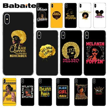 Babaite 2bunz Melanin Poppin Aba black girl magic Soft Silicone Phone Case Cover for iPhone 5 5Sx 6 7 7plus 8 8Plus X XS MAX XR image