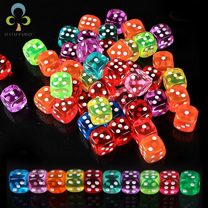 30PCS 6 Sided Portable Table Games Dice 14MM Acrylic Round Corner Board Game Dice Party Gambling Game Cubes Digital Dices GYH(China)