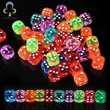 30 adet 6 taraflı taşınabilir masa oyunları zar 14MM akrilik yuvarlak köşe tahta oyunu zar parti kumar oyun küpleri dijital Dices GYH