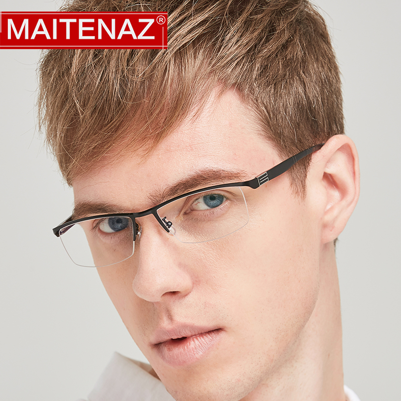 MAITENAZ Alloy TR90 Prescription Eyeglasses Myopia Hyperopia Progressive Simple Business Men Women Half Spectacle Frame 56170 image