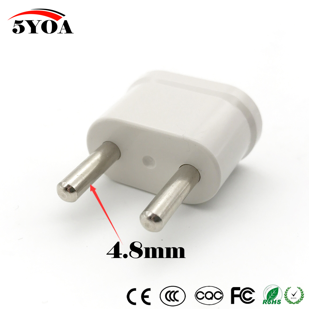 Us Usa To Eu Euro Europe Travel Schuko Plug Adapter Charger Converter For White