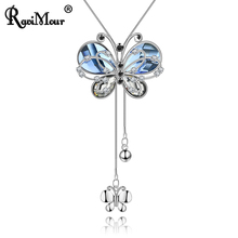 RAVIMOUR Blue Crystal Necklaces & Pendants for Women Copper Long Chain Statement Necklace Female Choker Jewelry Accessories 2017(China)