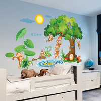 Large wall stickers cute cartoon children room wall stickers nursery kindergarten classrooms the monkey green trees