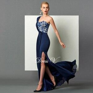Image 3 - Dressv 다크 네이비 롱 이브닝 드레스 스플릿 프론트 드레이프 스팽글 아플리케 원 숄더 스위프 트레인 공식 파티 이브닝 드레스