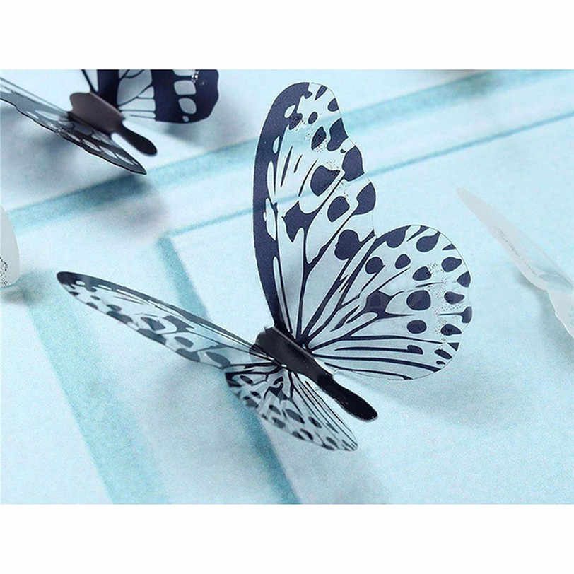 36 Pcs 3D Black White Butterfly Sticker Art Wall Decal Mural Home Decoration Kids Rooms Party Wedding Decor Wall Stickers