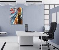 EVERFUN ART Encadré 100% peint à la main moderne abstrait cheval peinture mur toile art
