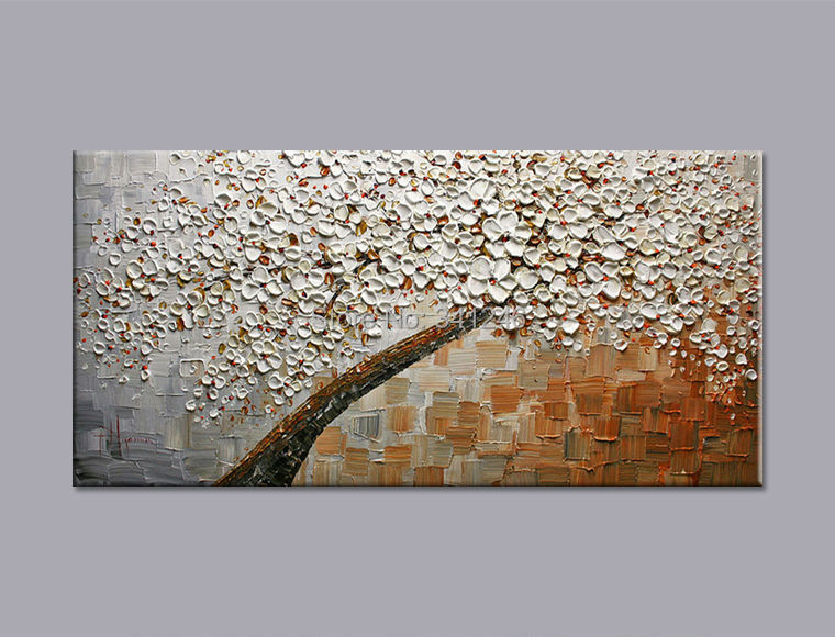 Hand-painted modern home decor wall art picture Brown white Cherry Blossom tree thick paint palette knife oil painting canvas - Modern Home Decorative Oil Painting store