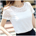 White blusas New 2016 Women lace shirt Fashion sexy hollow women tops Summer Elegant chiffon blouse plus size women clothing