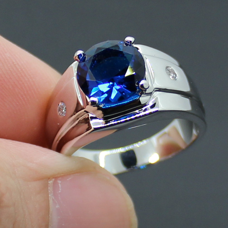 MMDGEM 3ct Round 5A Blue Stone Zircon silver ring Engagement ...