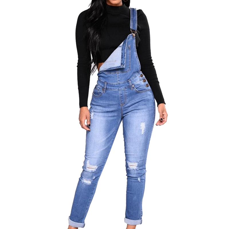 6a673b228ac Women Ripped Denim Jumpsuit Romper Casual Overalls Autumn Distressed Pockets  Blue Strap Jeans Jumpsuit High Waist Long Trousers-in Jumpsuits from  Women s ...